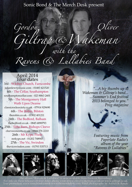 Oliver Wakeman amp Gordon Giltrap039s Ravens and Lullabies Band show CANCELLED