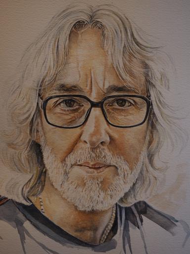 Painting of Guitarist Gordon Giltrap by Sue Martin