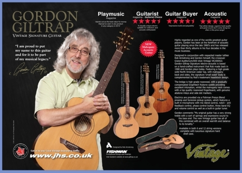 JHS Gordon Giltrap Vintage Guitar range advert