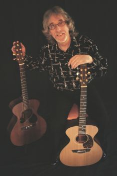 Gordon with original and new signature guitar
