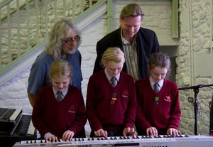 Gordon and Oliver with pupils at Hunter Hall School
